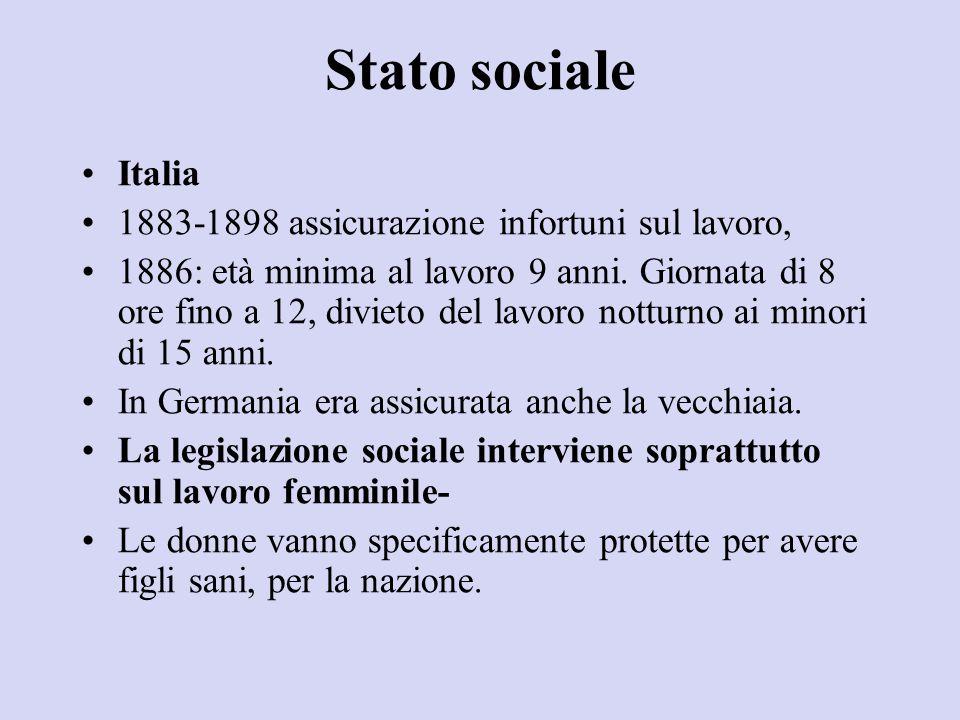 Stato sociale Italia 1883-1898 assicurazione infortuni sul lavoro,