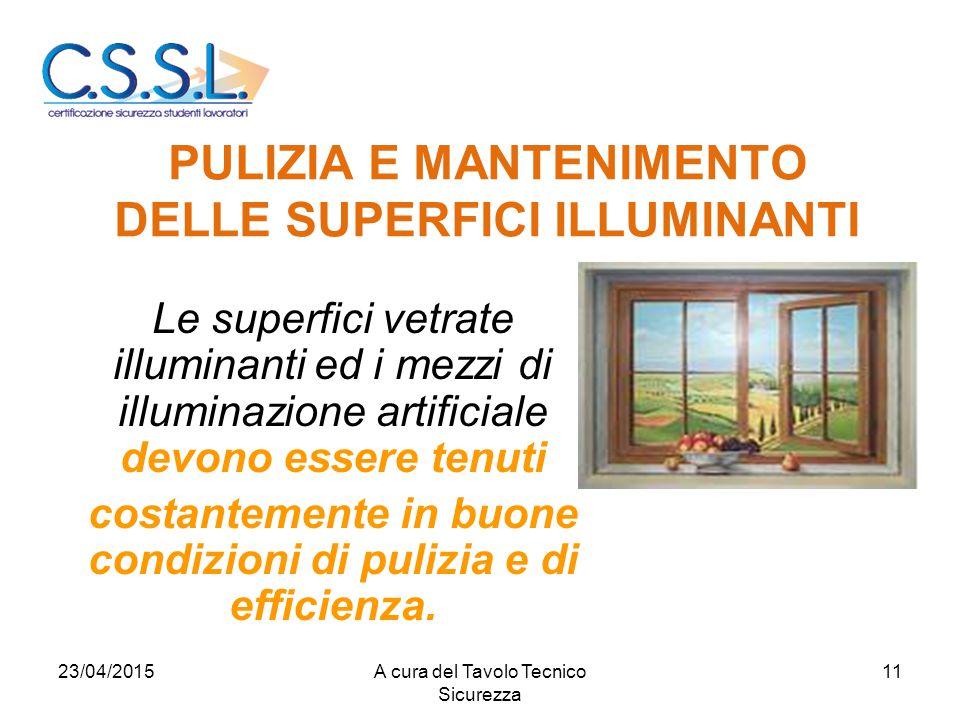 PULIZIA E MANTENIMENTO DELLE SUPERFICI ILLUMINANTI