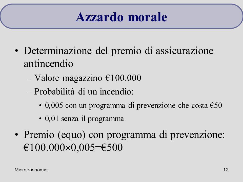 Azzardo morale Determinazione del premio di assicurazione antincendio