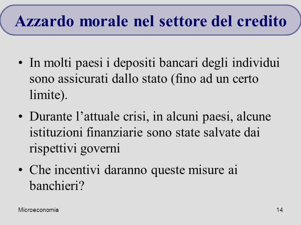 Azzardo morale nel settore del credito