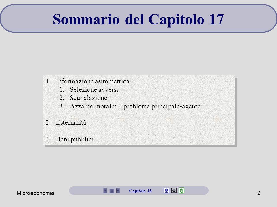 Sommario del Capitolo 17 Informazione asimmetrica Selezione avversa