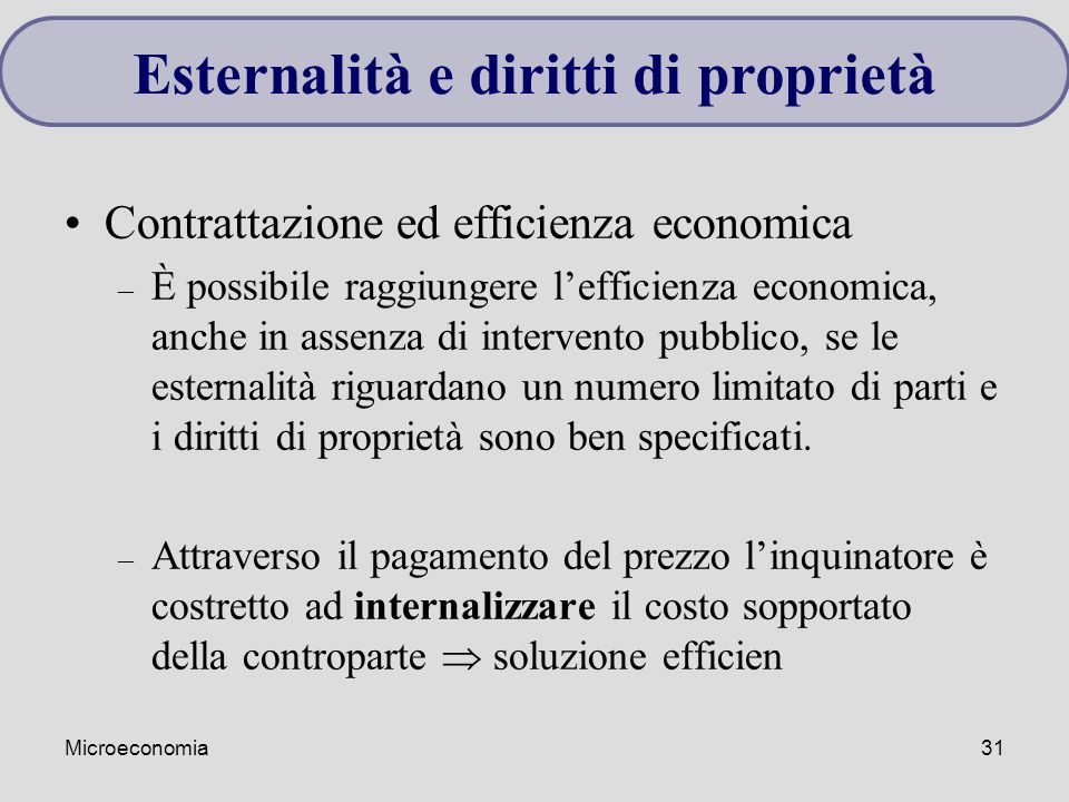 Esternalità e diritti di proprietà