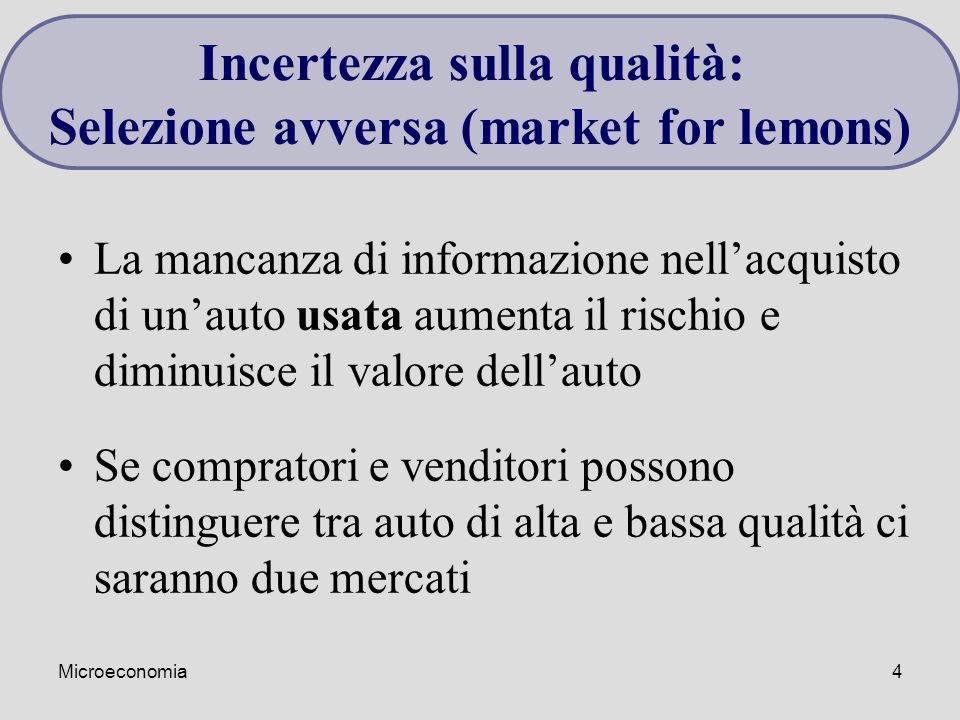Incertezza sulla qualità: Selezione avversa (market for lemons)