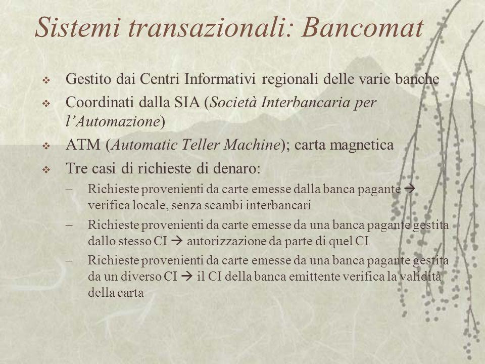Sistemi transazionali: Bancomat
