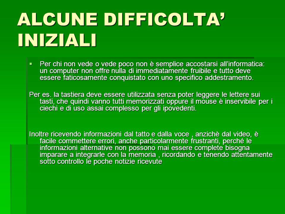 ALCUNE DIFFICOLTA' INIZIALI
