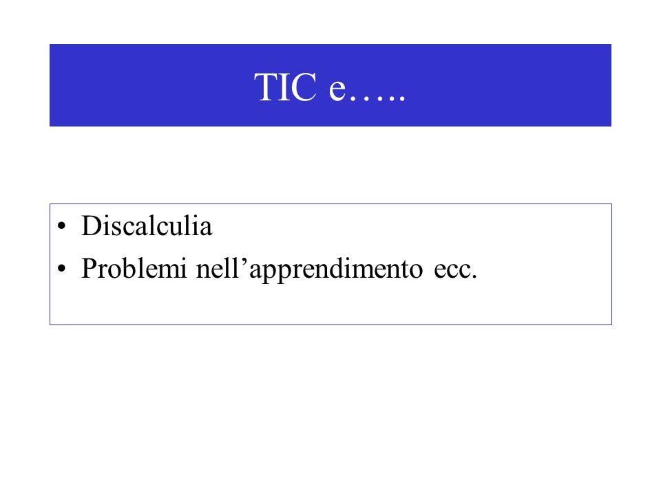 TIC e….. Discalculia Problemi nell'apprendimento ecc.