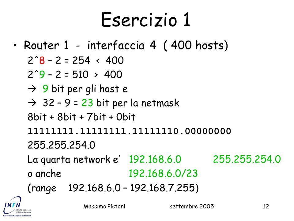Esercizio 1 Router 1 - interfaccia 4 ( 400 hosts)