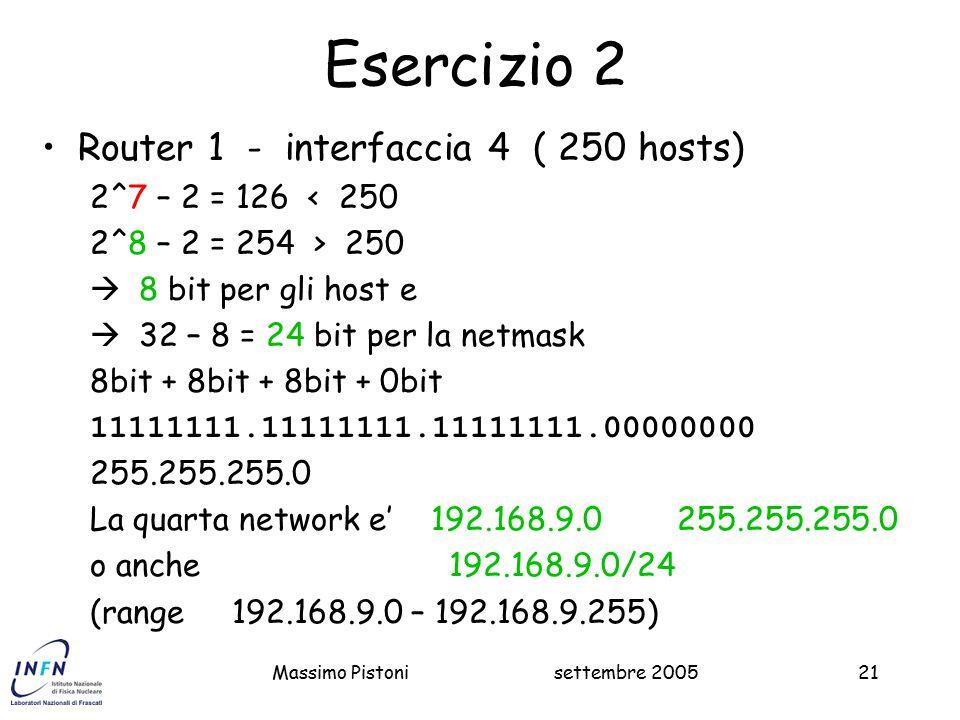 Esercizio 2 Router 1 - interfaccia 4 ( 250 hosts)