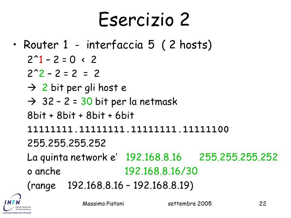 Esercizio 2 Router 1 - interfaccia 5 ( 2 hosts) 2^1 – 2 = 0 < 2