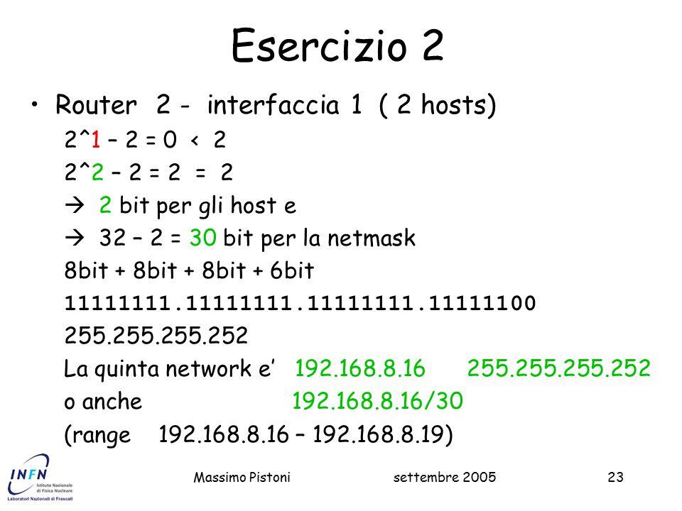 Esercizio 2 Router 2 - interfaccia 1 ( 2 hosts) 2^1 – 2 = 0 < 2