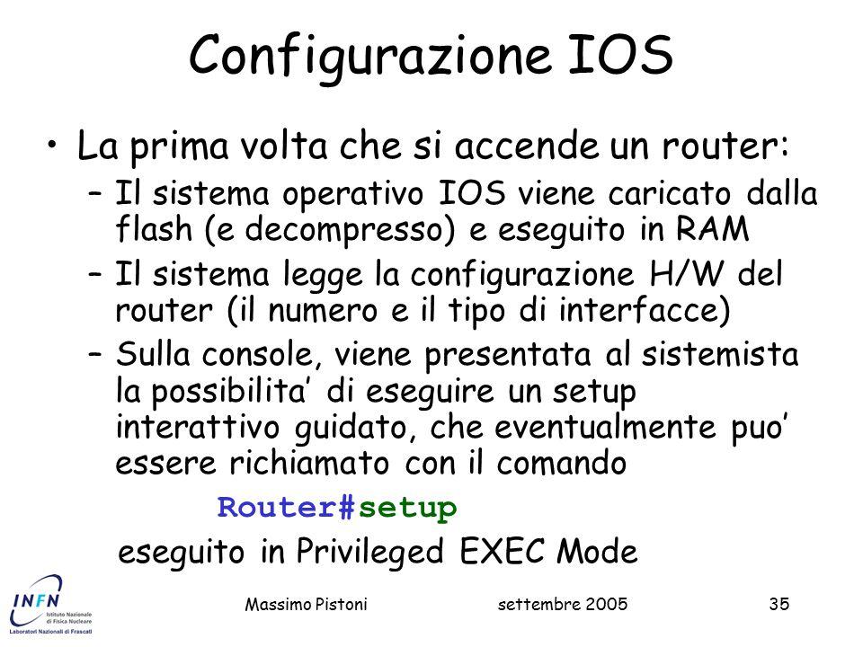 Configurazione IOS La prima volta che si accende un router: