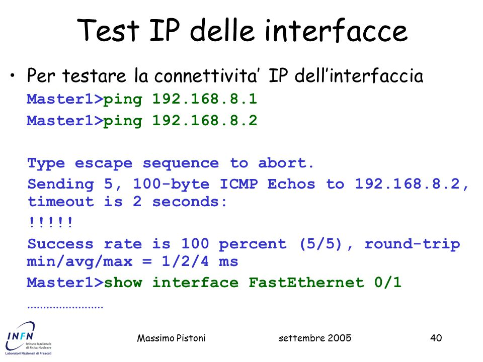 Test IP delle interfacce
