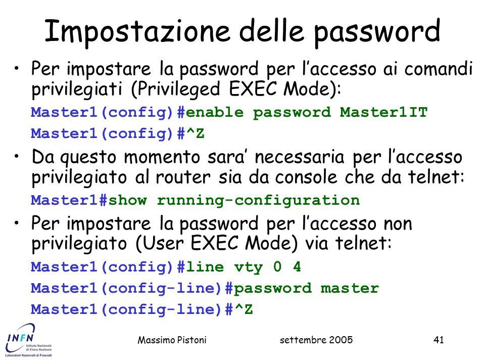 Impostazione delle password