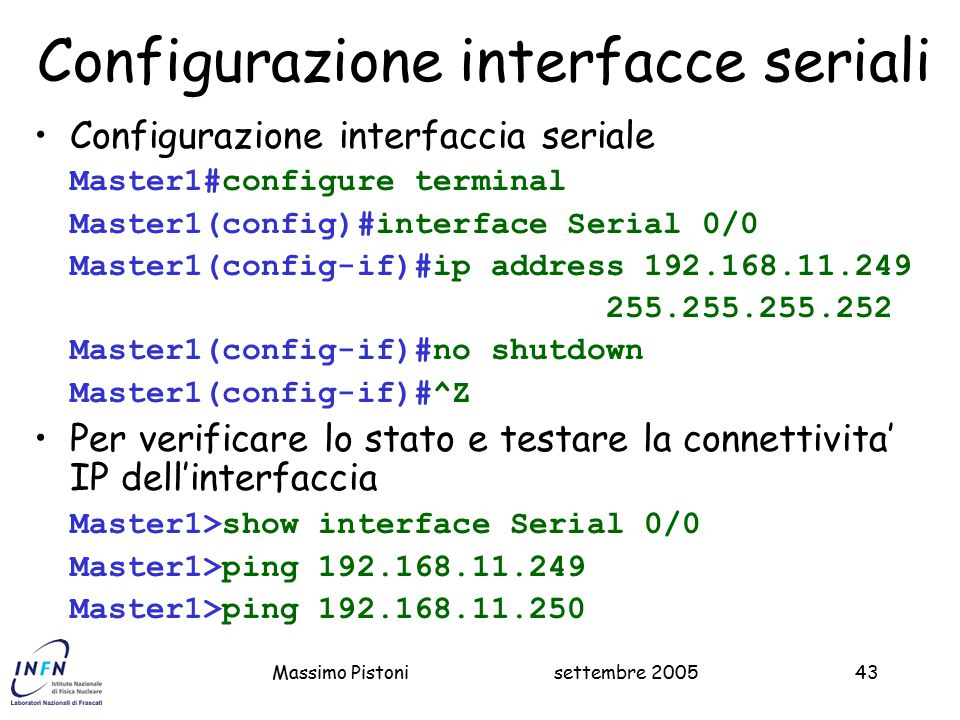 Configurazione interfacce seriali