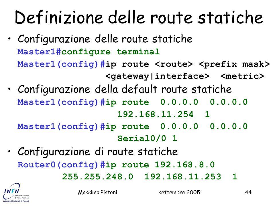 Definizione delle route statiche