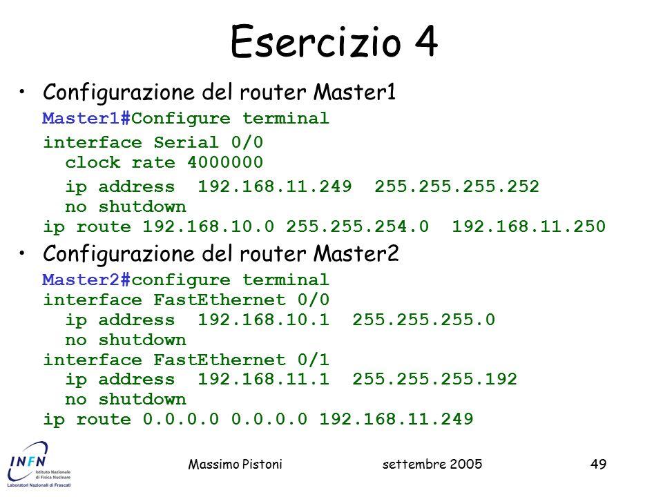 Esercizio 4 Configurazione del router Master1