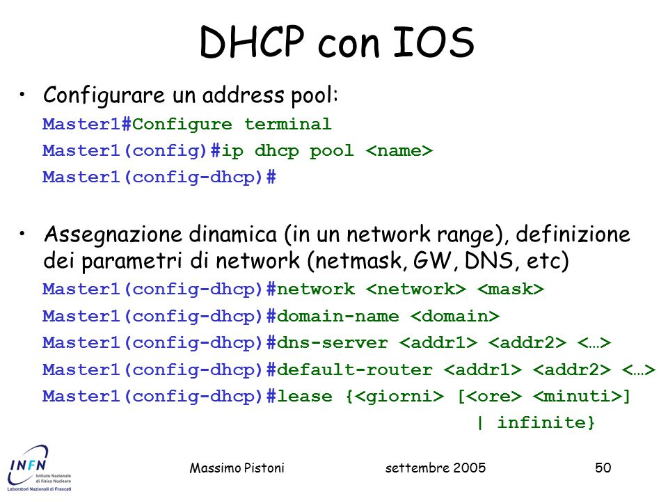 DHCP con IOS Configurare un address pool:
