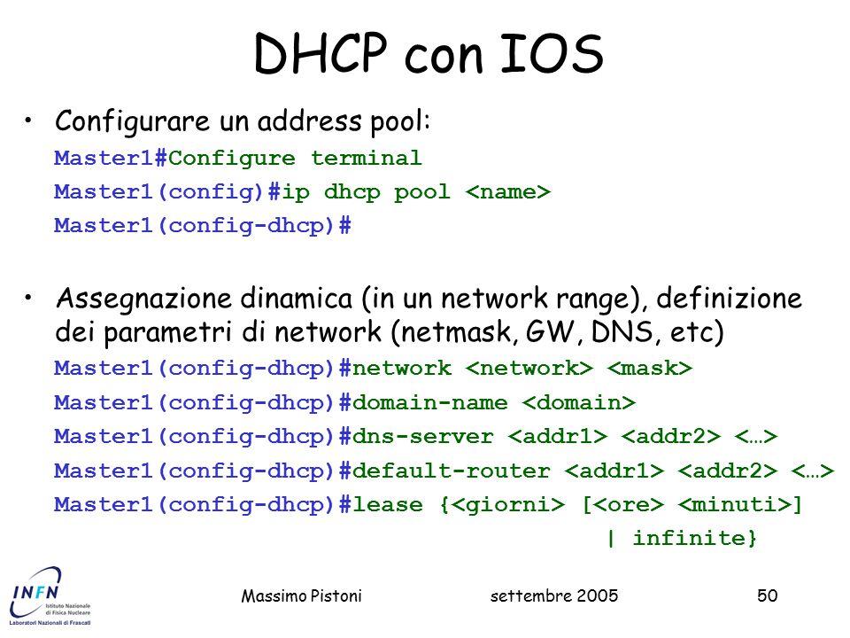 DHCP con IOS Configurare un address pool: