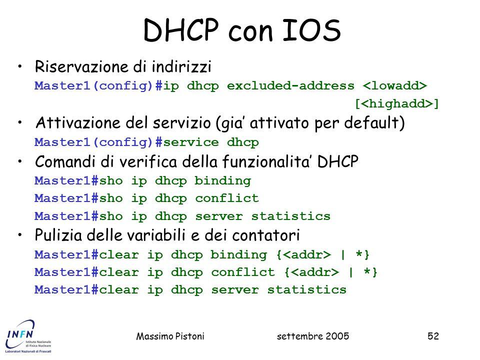 DHCP con IOS Riservazione di indirizzi