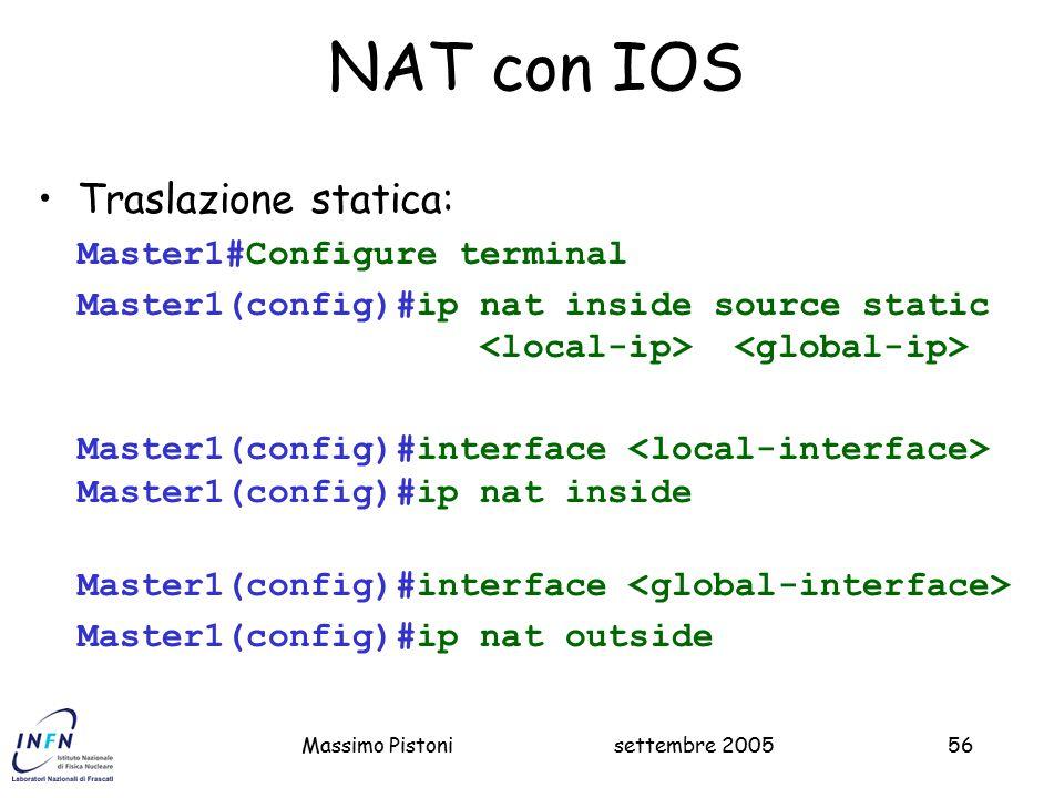 NAT con IOS Traslazione statica: Master1#Configure terminal