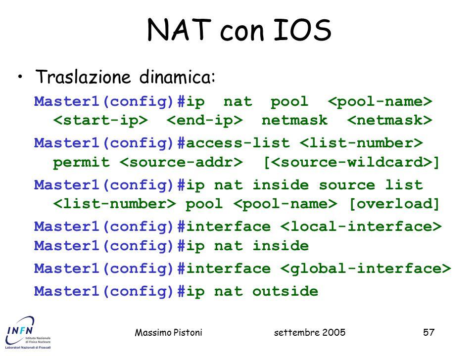NAT con IOS Traslazione dinamica: