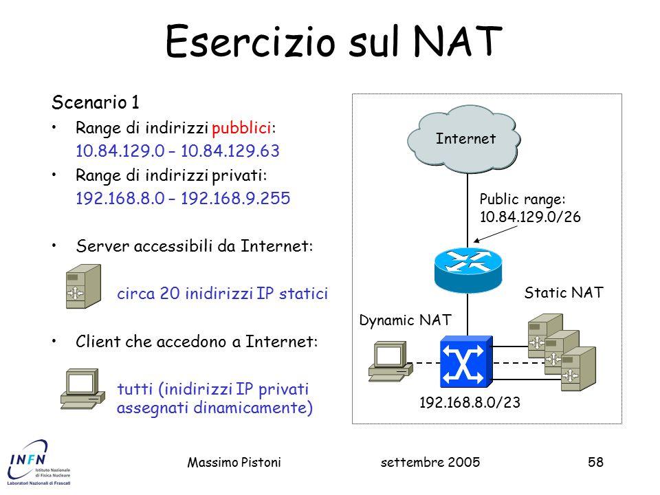 Esercizio sul NAT Scenario 1 Range di indirizzi pubblici: