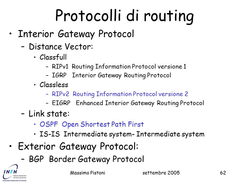 Protocolli di routing Interior Gateway Protocol