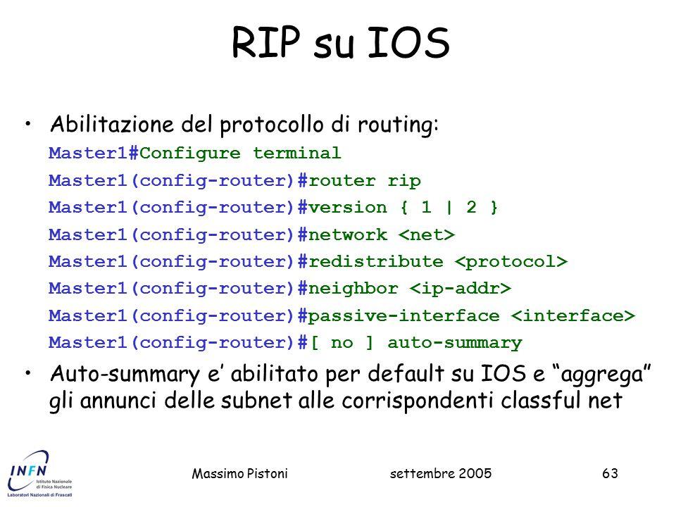 RIP su IOS Abilitazione del protocollo di routing: