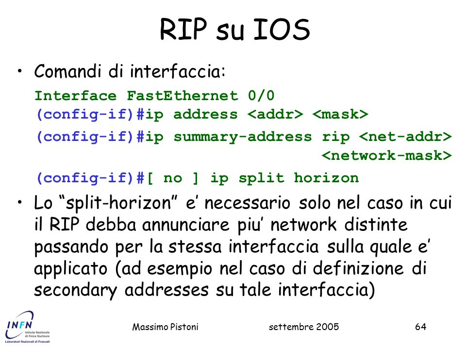 RIP su IOS Comandi di interfaccia: