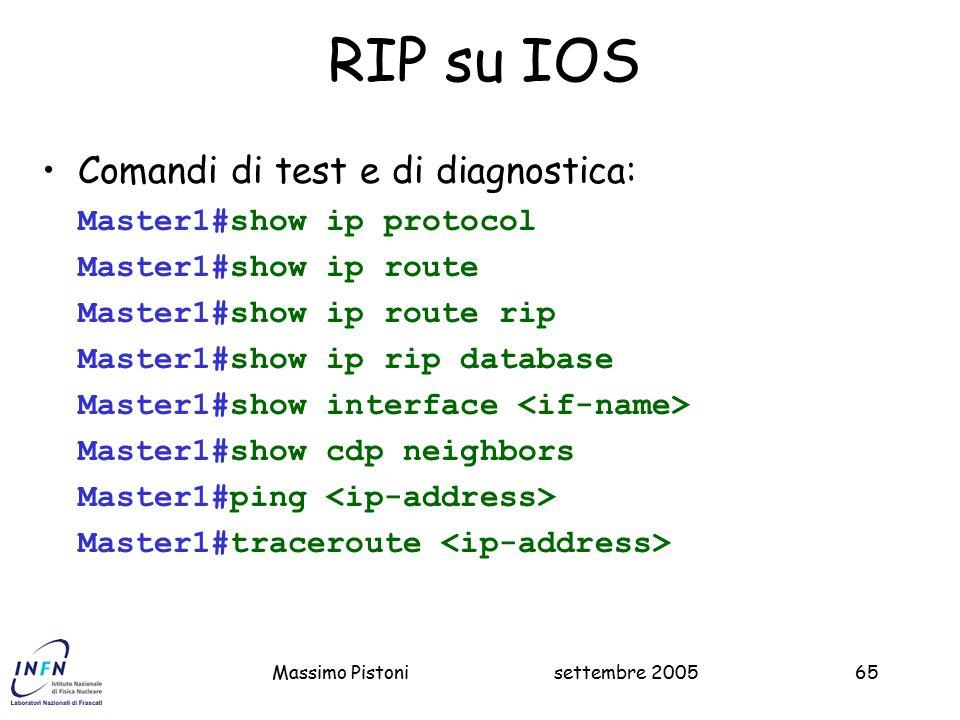 RIP su IOS Comandi di test e di diagnostica: Master1#show ip protocol