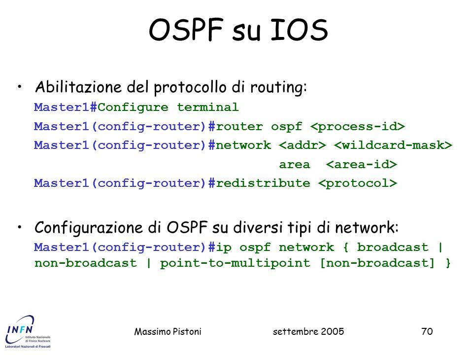 OSPF su IOS Abilitazione del protocollo di routing:
