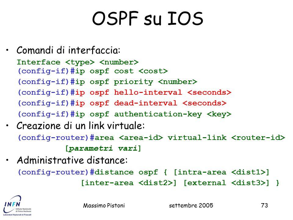 OSPF su IOS Comandi di interfaccia: Creazione di un link virtuale: