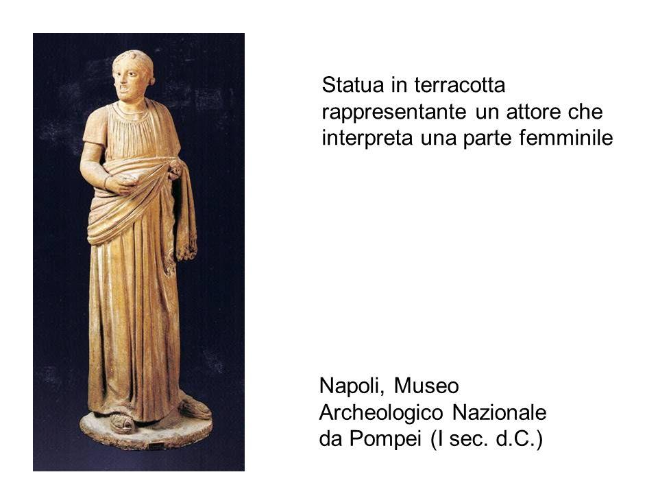 Statua in terracotta rappresentante un attore che interpreta una parte femminile