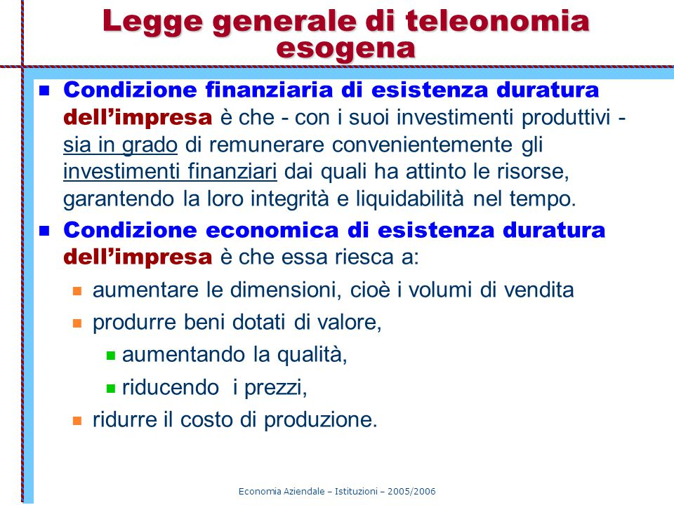 Legge generale di teleonomia esogena