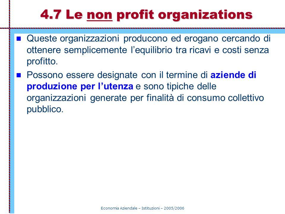 4.7 Le non profit organizations