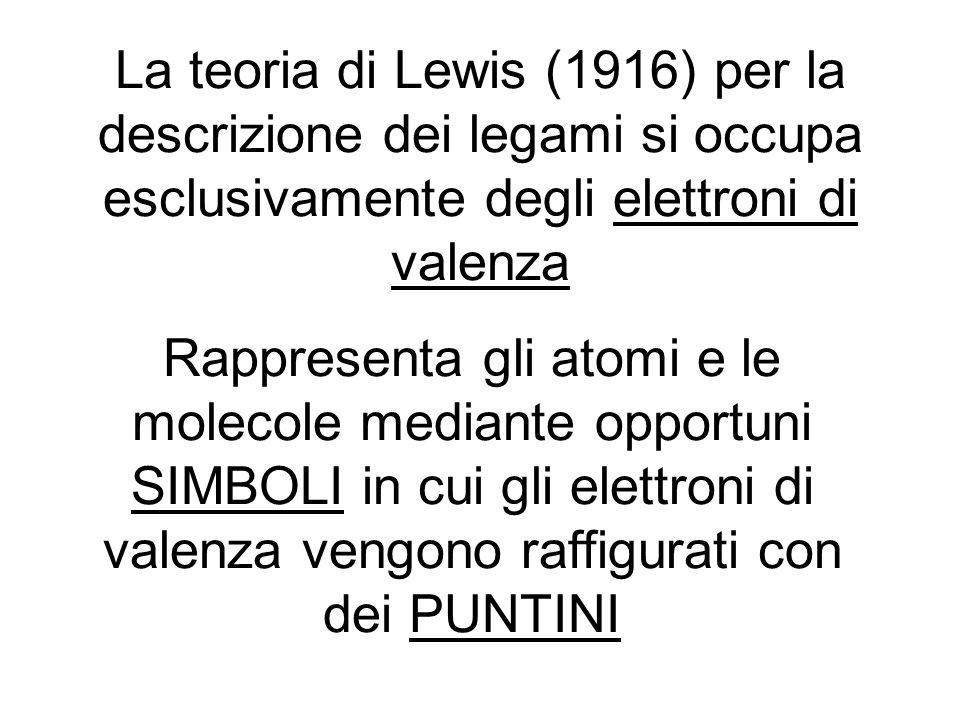 La teoria di Lewis (1916) per la descrizione dei legami si occupa esclusivamente degli elettroni di valenza
