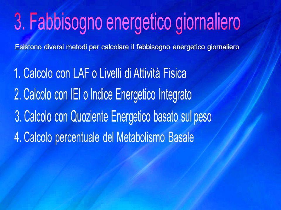 3. Fabbisogno energetico giornaliero
