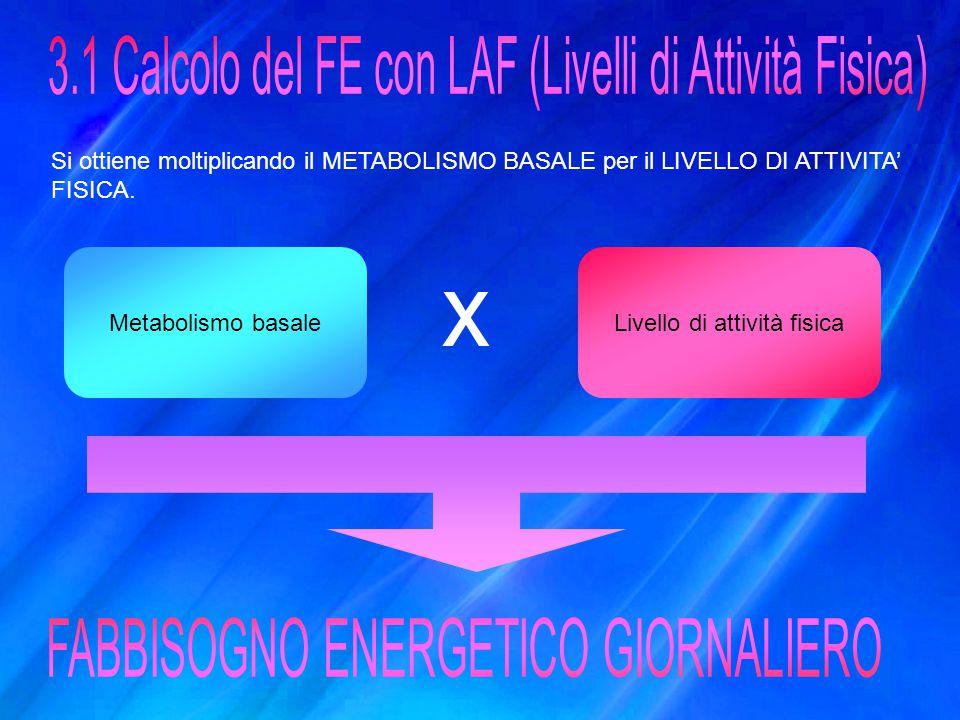 3.1 Calcolo del FE con LAF (Livelli di Attività Fisica)
