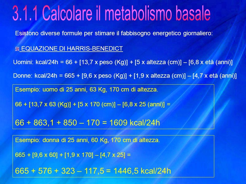 3.1.1 Calcolare il metabolismo basale