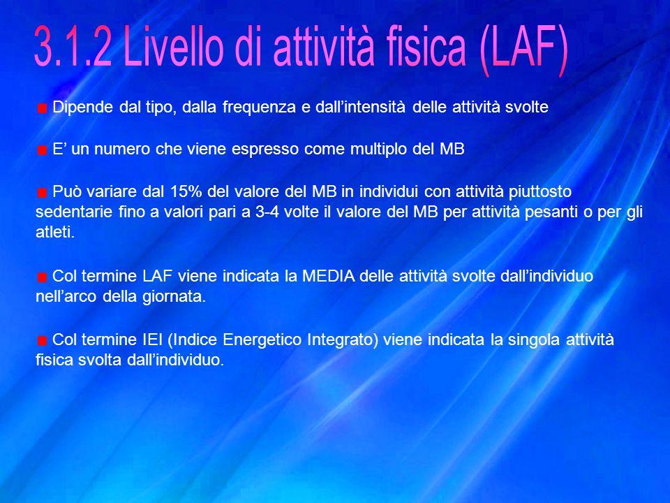 3.1.2 Livello di attività fisica (LAF)