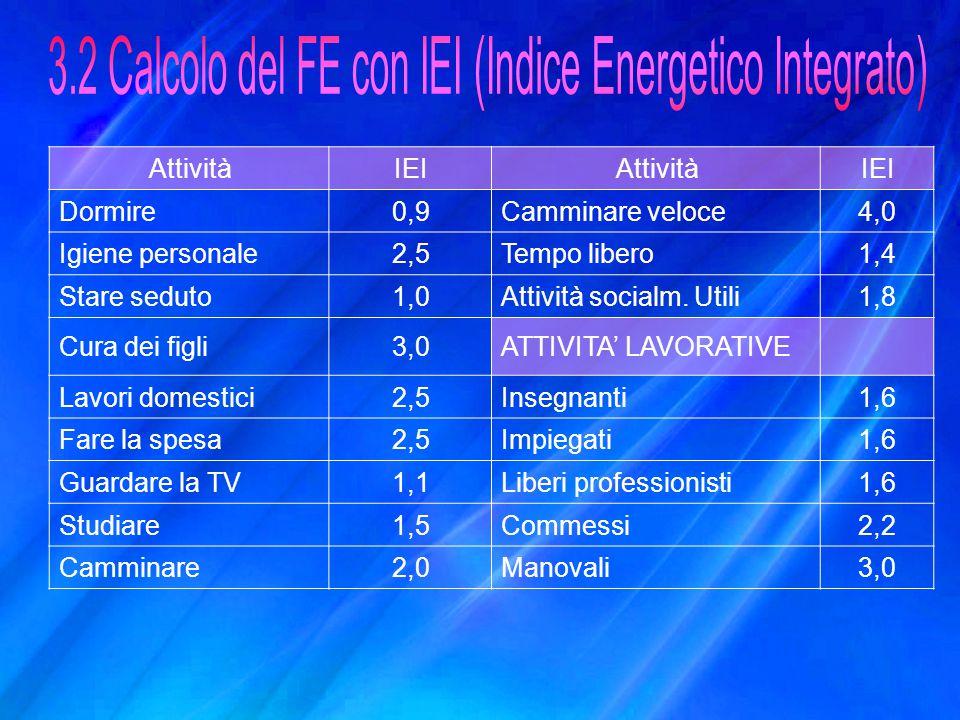 3.2 Calcolo del FE con IEI (Indice Energetico Integrato)