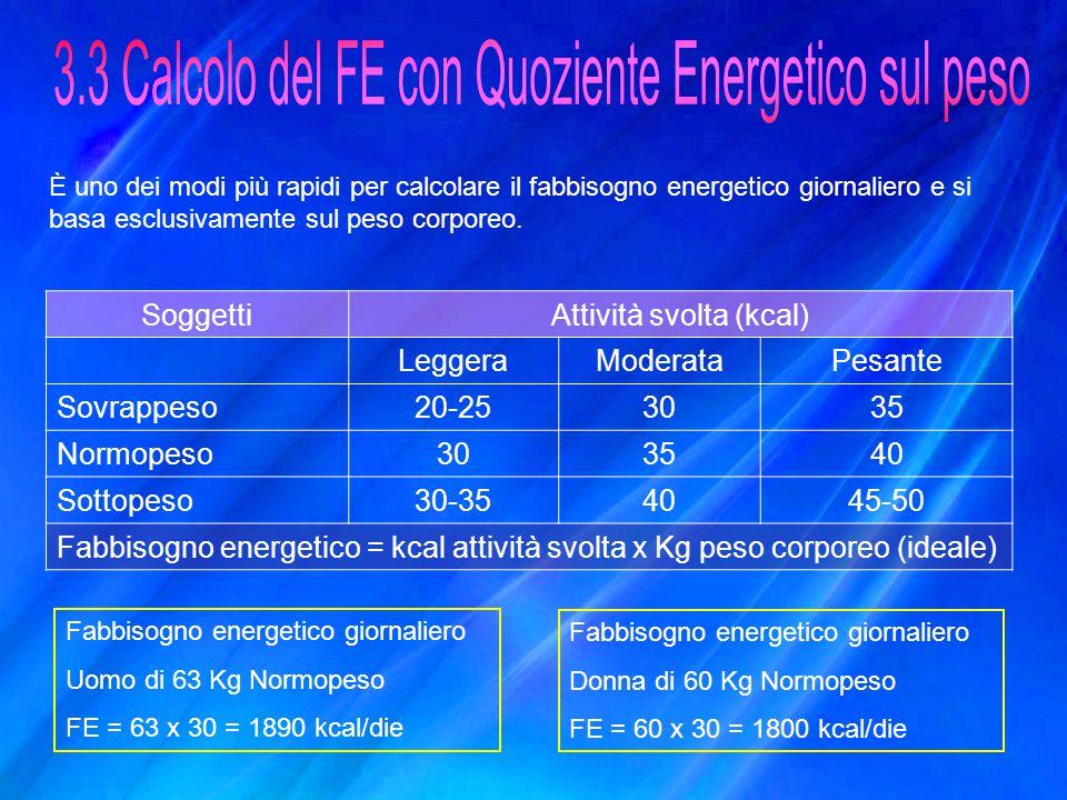 3.3 Calcolo del FE con Quoziente Energetico sul peso