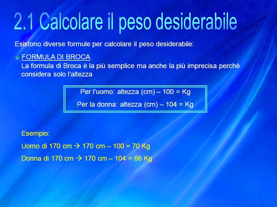 2.1 Calcolare il peso desiderabile