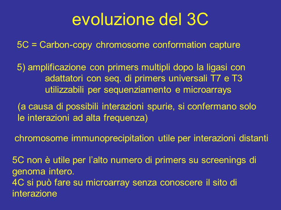 evoluzione del 3C 5C = Carbon-copy chromosome conformation capture