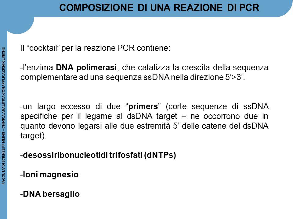 COMPOSIZIONE DI UNA REAZIONE DI PCR