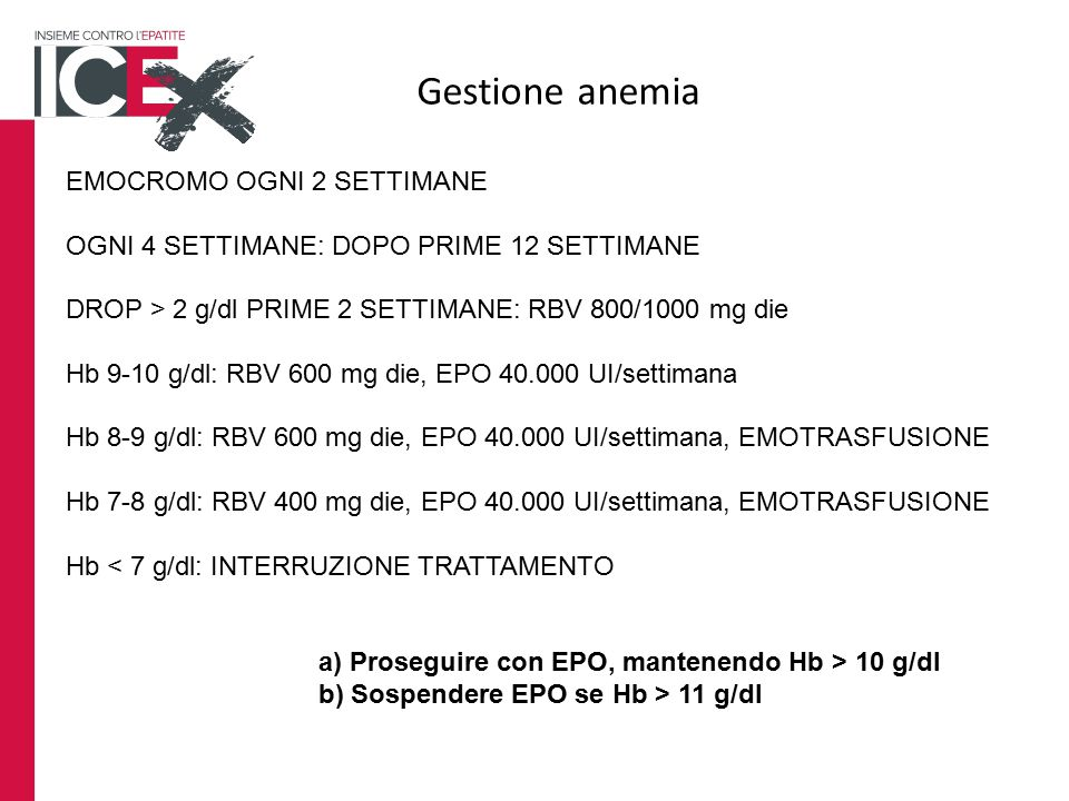 Gestione anemia EMOCROMO OGNI 2 SETTIMANE