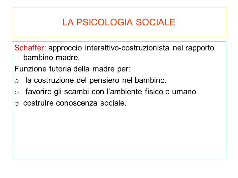 LA PSICOLOGIA SOCIALE Schaffer: approccio interattivo-costruzionista nel rapporto bambino-madre. Funzione tutoria della madre per: