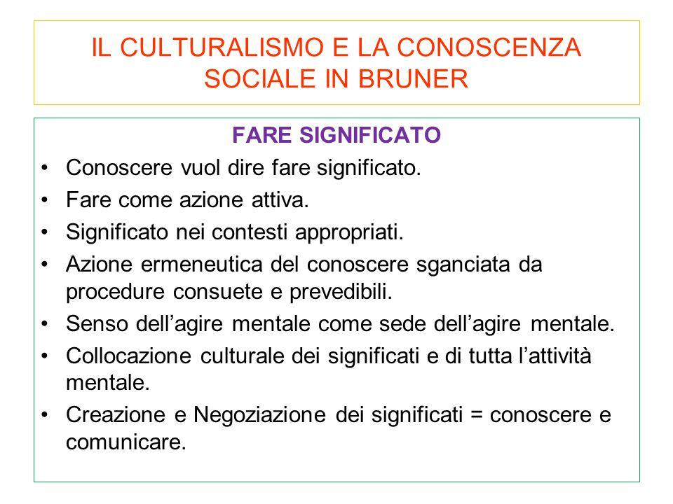 IL CULTURALISMO E LA CONOSCENZA SOCIALE IN BRUNER
