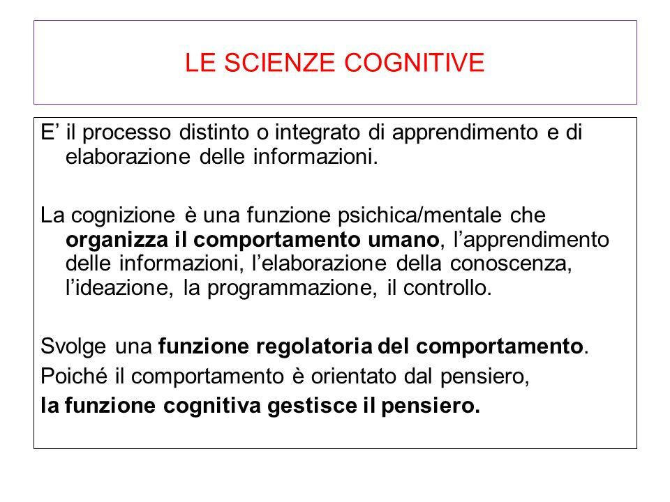 LE SCIENZE COGNITIVE E' il processo distinto o integrato di apprendimento e di elaborazione delle informazioni.