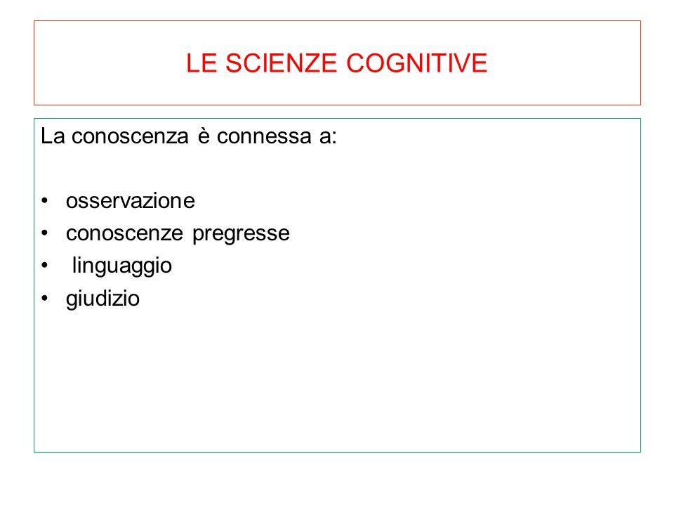 LE SCIENZE COGNITIVE La conoscenza è connessa a: osservazione
